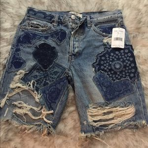 NWT denim patchwork Free People shorts